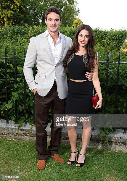Jessica Lowndes and Thom Evans attend the launch party for the Fashion Rules exhibition a collection of dresses worn by HRH Queen Elizabeth II...