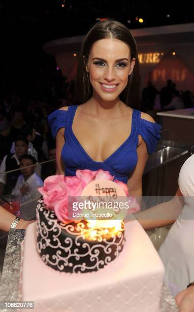Jessica Lowndes celebrates her birthday at Pure Nightclub at Caesars Palace on November 13 2010 in Las Vegas Nevada