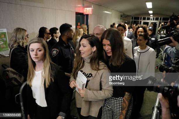 Jessica Mann a witness who testified against former Weinstein Co CoChairman Harvey Weinstein center exits from state supreme court in New York US on...
