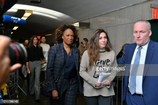 Jessica Mann walks into the courthouse for sentencing of movie mogul Harvey Weinstein on March 11 2020 in New York City Weinstein who faces a minimum...