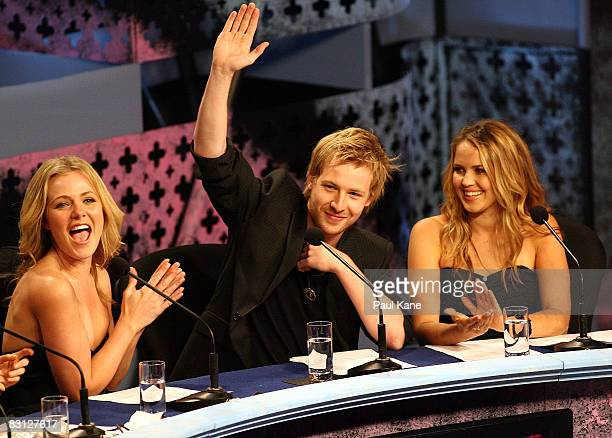 Jessica Marais Angus McLaren and Alix Bidstrup read donations on the panel during the Channel Seven Perth Telethon at The Perth Convention Exhibition...