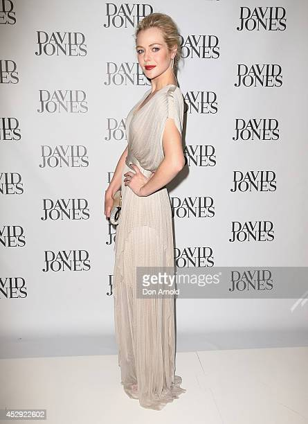 Jessica Marais arrives at the David Jones Spring/Summer 2014 Collection Launch at David Jones Elizabeth Street Store on July 30 2014 in Sydney...