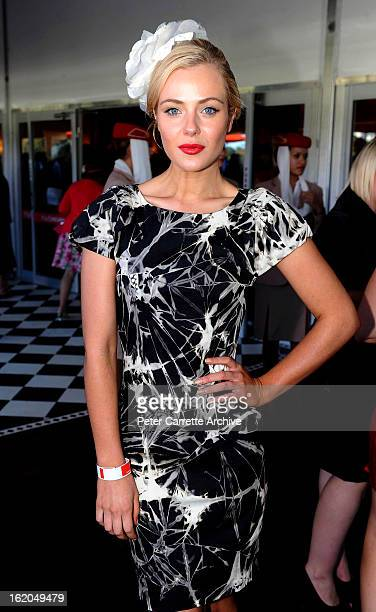 Jessica Marais at the Emirates marquee on Doncaster Day at Royal Randwick Racecourse on April 17 2010 in Sydney Australia