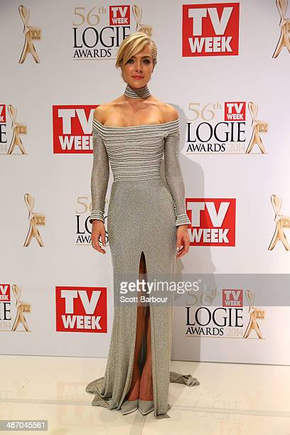 Jessica Marais poses in the awards room at the 2014 Logie Awards at Crown Palladium on April 27 2014 in Melbourne Australia