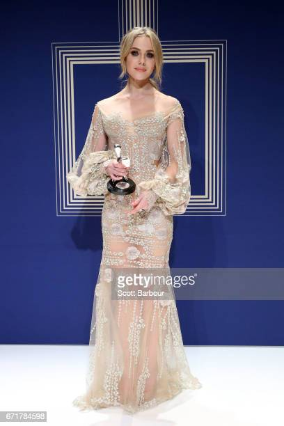 Jessica Marais poses with the Logie Award for Best Actress during the 59th Annual Logie Awards at Crown Palladium on April 23 2017 in Melbourne...