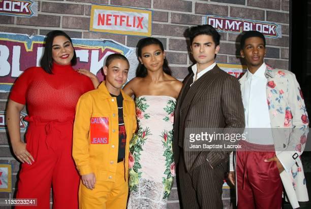 Jessica Maria Garcia, Jason Genao, Sierra Capri, Diego Tinoco and Brett Gray attend the premiere of Netflix's 'On My Block' Season 2 held at Petty...