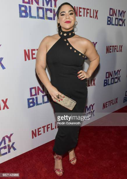 Jessica Marie Garcia arrives at the premiere of Netflix's On My Block at NETFLIX on March 14 2018 in Los Angeles California