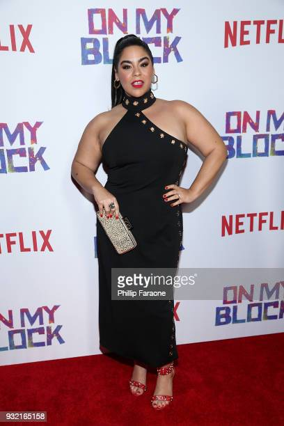 Jessica Marie Garcia attends the premiere of Netflix's On My Block at NETFLIX on March 14 2018 in Los Angeles California