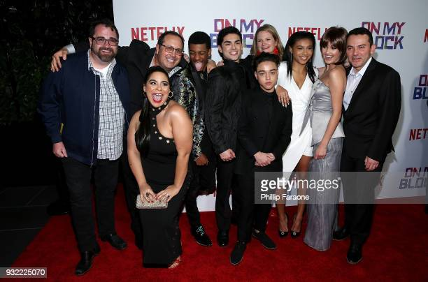 Jessica Marie Garcia Brett Gray Diego Tinoco Jason Genao Sierra Capri and Ronni Hawk attend the premiere of Netflix's On My Block at NETFLIX on March...