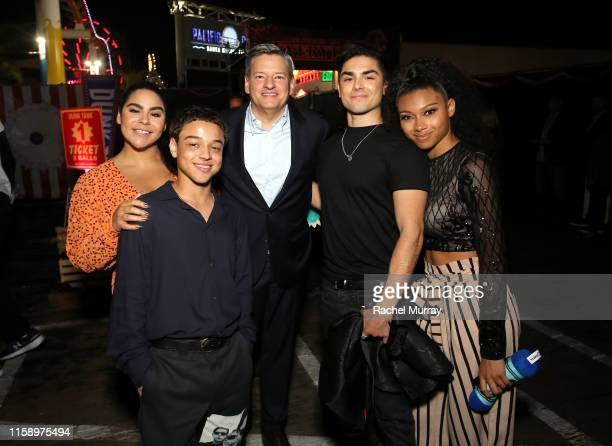 Jessica Marie Garcia Jason Genao Netflix Chief Content Officer Ted Sarandos Diego Tinoco and Sierra Capri attend the Stranger Things Season 3 World...