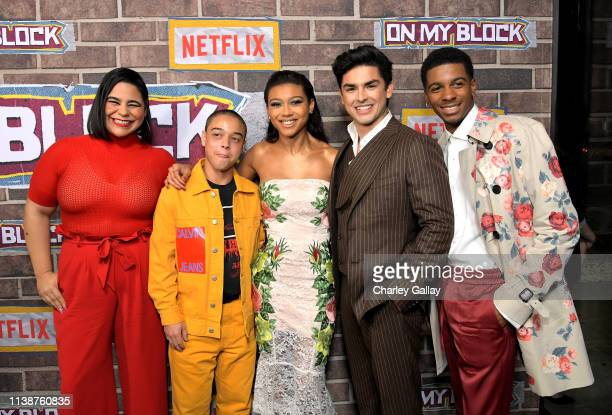 Jessica Marie Garcia Jason Genao Sierra Capri Diego Tinoco and Brett Gray attend the 'On My Block' S2 Launch Event at Petty Cash Taqueria on March 27...