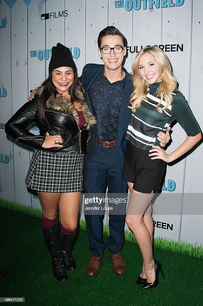 Jessica Marie Garcia, Joey Bragg, and Audrey Whitby arrive at the Fullscreen Films presents Premiere of 'The Outfield' at AMC CityWalk Stadium 19 at Universal Studios Hollywood on November 9, 2015 in Universal City, California.