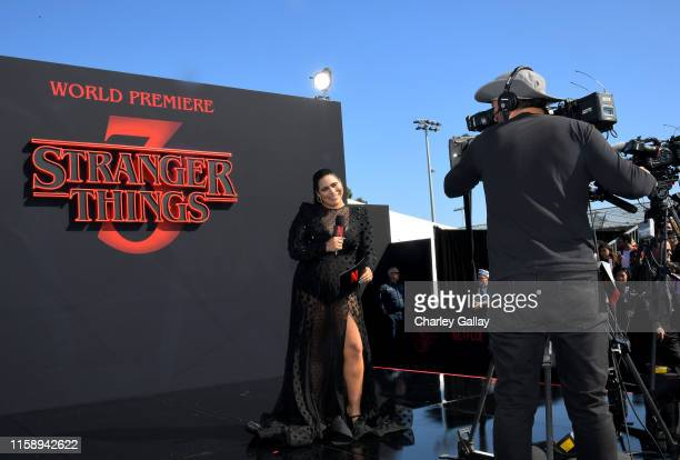 Jessica Marie Garcia speaks onstage during the Stranger Things Season 3 World Premiere on June 28 2019 in Santa Monica California