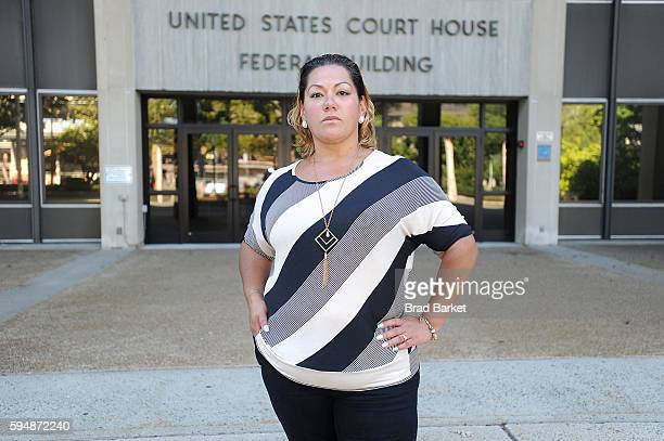 Jessica Martinez, lead plaintiff in Martinez v. Malloy, poses for a photo outside the U.S. District Court for the District of Connecticut on August...