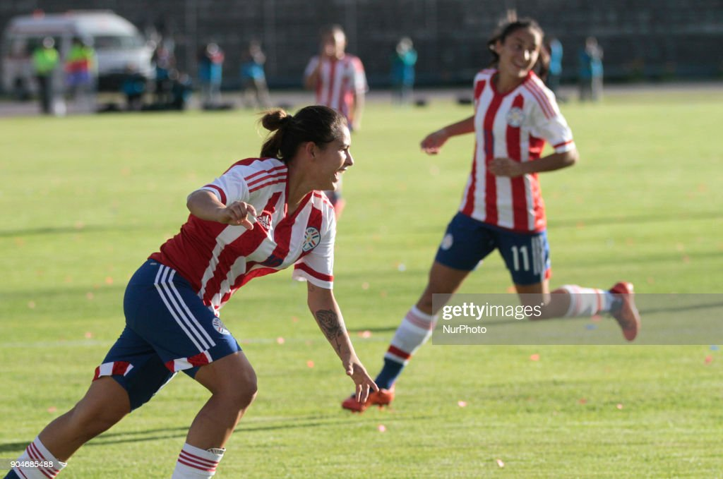 Jessica Martinez of Paraguay celebrates the goal during the game between Colombia vs Paraguay, played at the Fernando Guerrero Stadium by the Sudamericano Femenino U20, in Riobamba, Ecuador, Saturday, January 13, 2018.