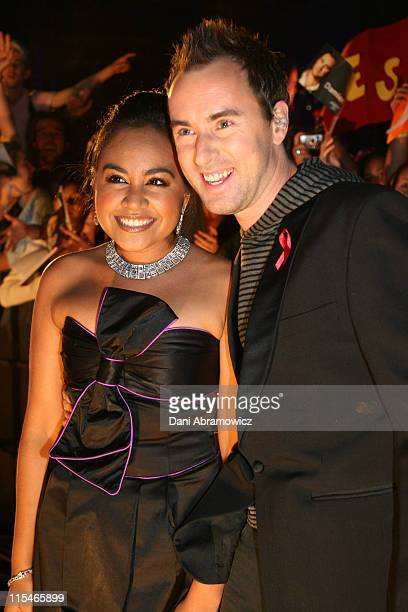 Jessica Mauboy and Damien Leith during ''Australian Idol'' Grand Final November 26 2006 at Sydney Opera House in Sydney NSW Australia