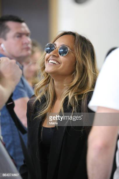 Jessica Mauboy and her band arrive at Melbourne Airport on April 1 2017 in Melbourne Australia