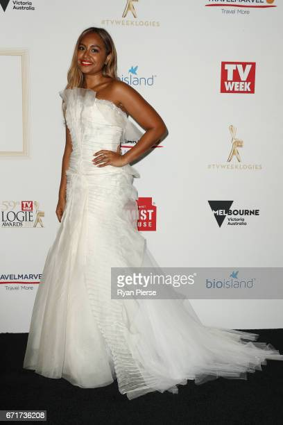 Jessica Mauboy arrives at the 59th Annual Logie Awards at Crown Palladium on April 23 2017 in Melbourne Australia