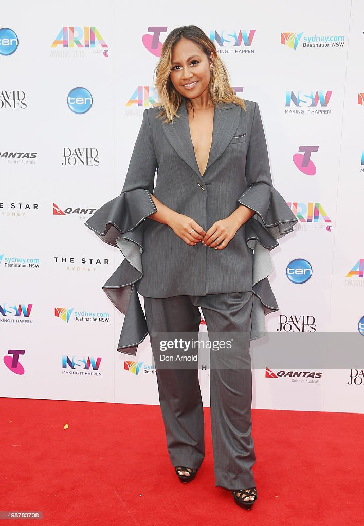 Jessica Mauboy arrives for the 29th Annual ARIA Awards 2015 at The Star on November 26, 2015 in Sydney, Australia.