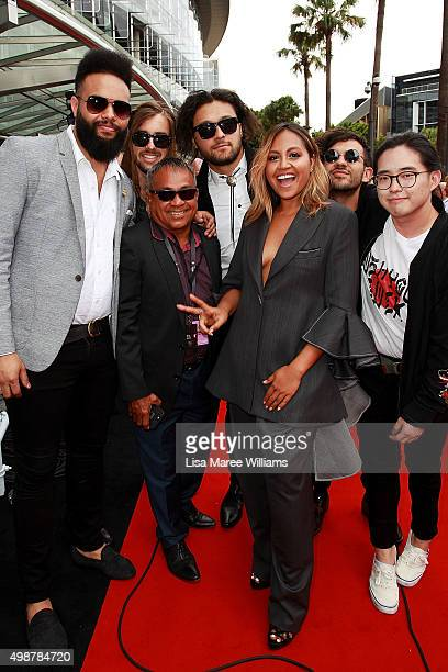 Jessica Mauboy arrives with friends and family ahead of the ARIA Awards 2015 at The Star on November 26 2015 in Sydney Australia