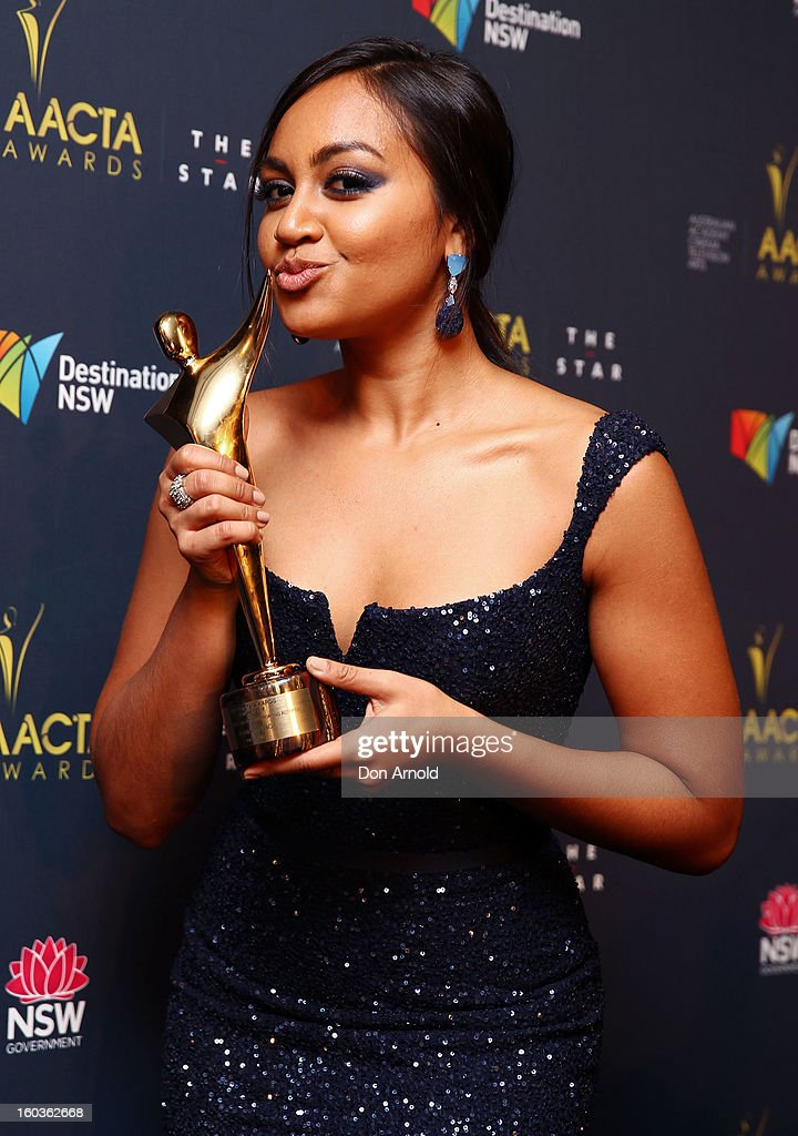 Jessica Mauboy celebrates her award for Best Supporting Actress in 'The Sapphires' at the 2nd Annual AACTA Awards at The Star on January 30, 2013 in Sydney, Australia.