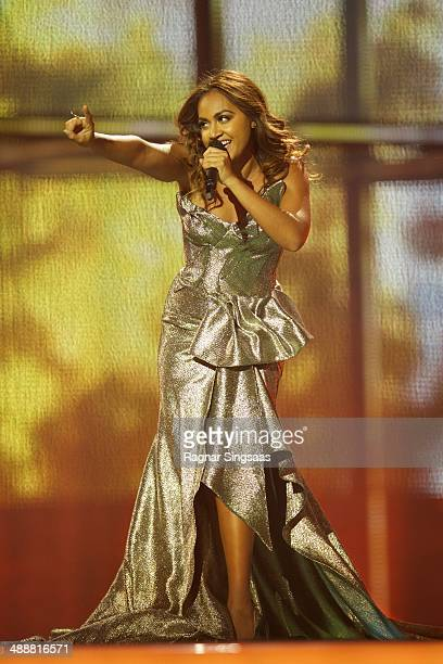 Jessica Mauboy of Australia performs on stage during the second Semi Final of the Eurovision Song Contest 2014 on May 8 2014 in Copenhagen Denmark