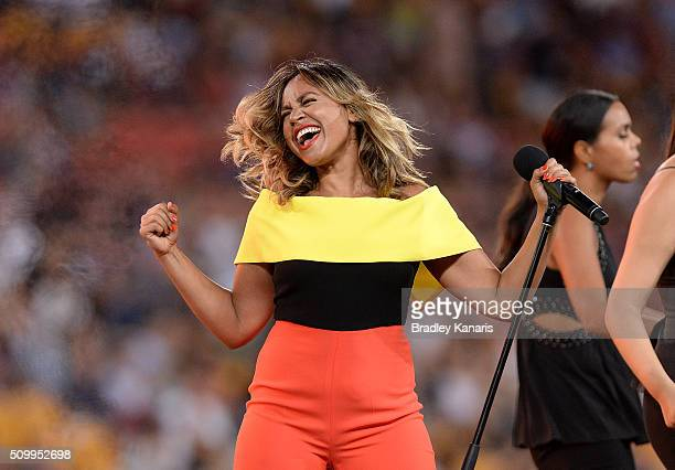 Jessica Mauboy performs before the NRL match between the Indigenous AllStars and the World AllStars at Suncorp Stadium on February 13 2016 in...