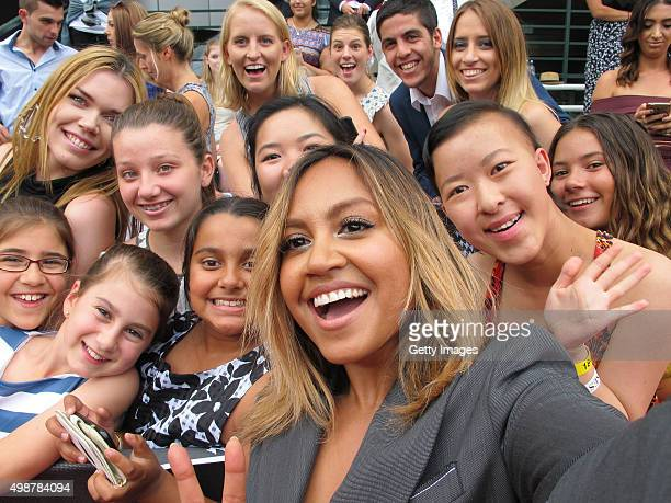 Jessica Mauboy poses for a selfie at the 29th Annual ARIA Awards 2015 at The Star on November 26 2015 in Sydney Australia