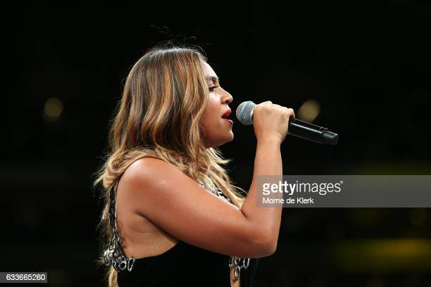Jessica Mauboy sings the national anthem before the cruiserweight bout between Anthony Mundine and Danny Green at Adelaide Oval on February 3 2017 in...