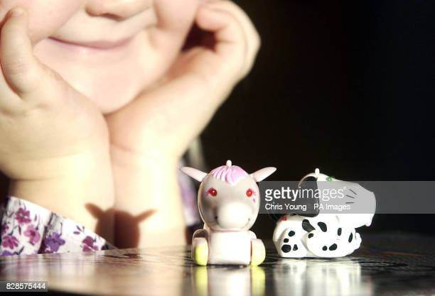 Jessica McCokey from London keeps an eye on two micro pets at the Guinness World Record offices in central London after the Tomy toys were officially...