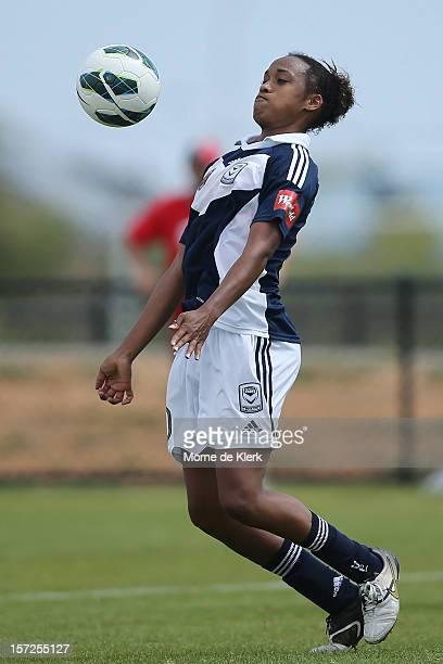 Jessica McDonald of Melbourne wins the ball during the round seven WLeague match between Adelaide United and the Melbourne Victory at Burton Park on...