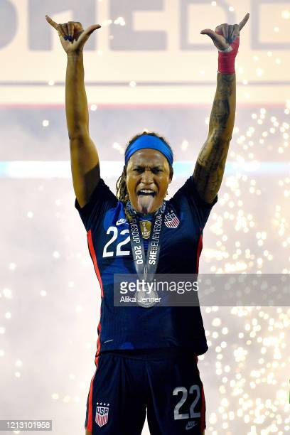 Jessica McDonald of the United States is pumped on the championship stage after the SheBelieves Cup match against Japan at Toyota Stadium on March 11...