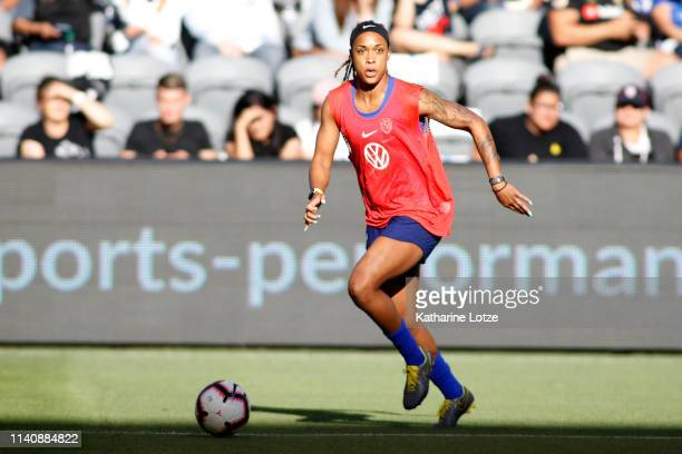 Jessica McDonald of the US Women's National Team looks to pass during a training session at Banc of California Stadium on April 06 2019 in Los...