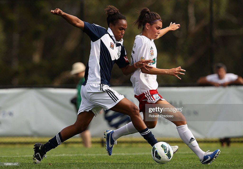 Jessica McDonald of the Victory controls the ball during the round 11 W-League match between the Melbourne Victory and Adelaide United at Wembley Park on January 5, 2013 in Melbourne, Australia.