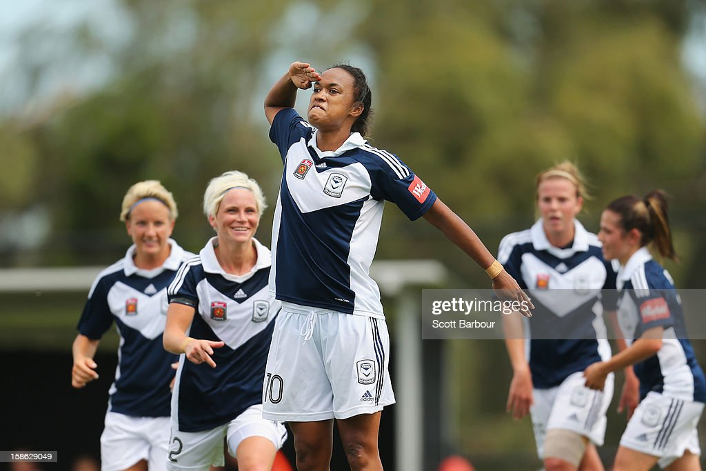 Jessica McDonald of the Victory gestures after scoring her first goal during the round 10 W-League match between the Melbourne Victory and the Western Sydney Wanderers at Wembley Park on December 22, 2012 in Melbourne, Australia.