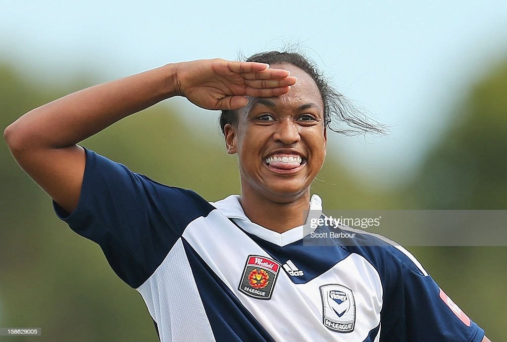Jessica McDonald of the Victory gestures after scoring her second goal during the round 10 W-League match between the Melbourne Victory and the Western Sydney Wanderers at Wembley Park on December 22, 2012 in Melbourne, Australia.