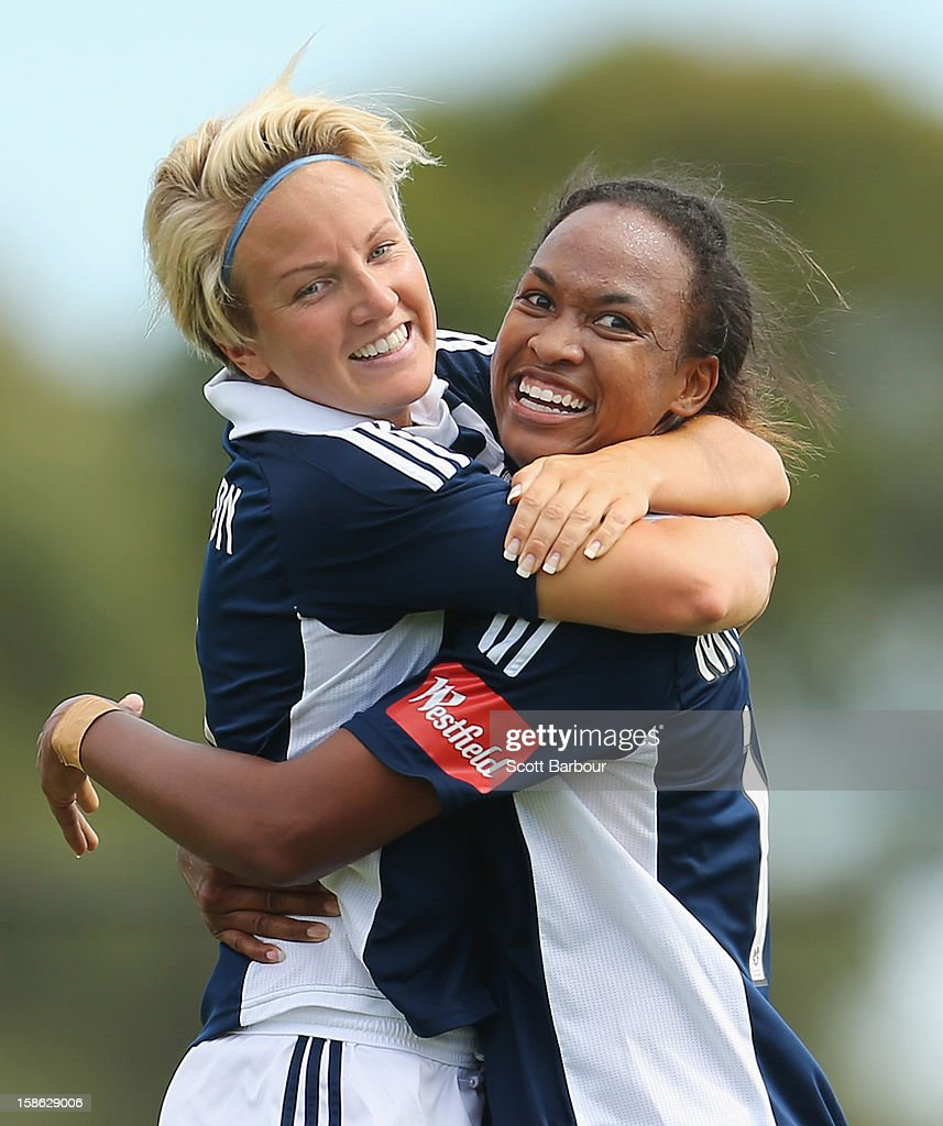 Jessica McDonald (R) of the Victory is congratulated by Petra Larsson after scoring her second goal during the round 10 W-League match between the Melbourne Victory and the Western Sydney Wanderers at Wembley Park on December 22, 2012 in Melbourne, Australia.