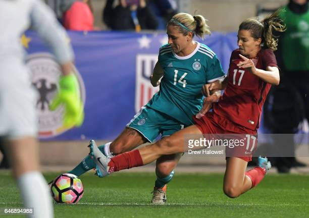 Jessica McDonald of United States of America tries to block a shot by Anne Blsse of Germany during the SheBelieves Cup at Talen Energy Stadium on...