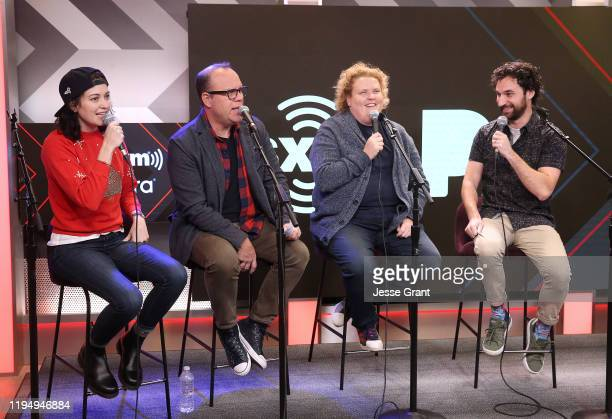 Jessica McKenna Tom Papa Fortune Feimster and Zach Reino perform at What A Joke With Papa And Fortune's Holiday Spectacular on SiriusXM Netflix Is A...