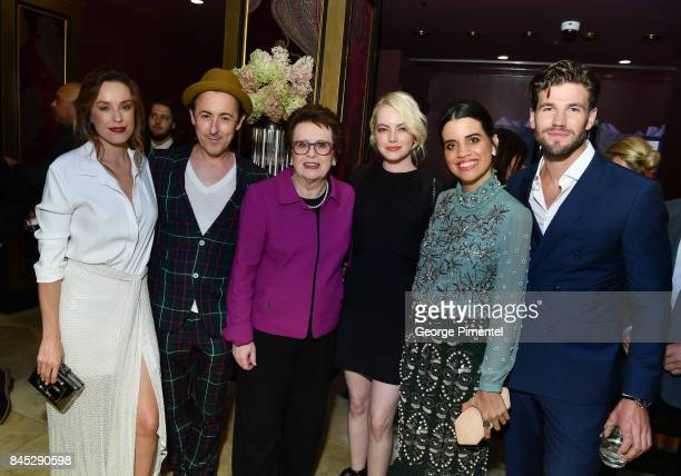 Jessica McNamee Alan Cumming Billie Jean King Emma Stone Natalie Morales and Austin Stowell attend The Hollywood Foreign Press Association and...