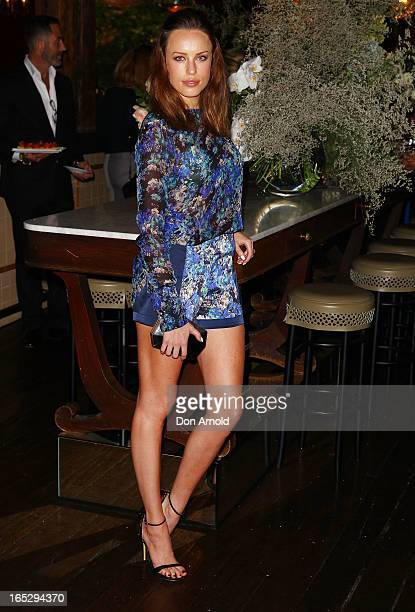 Jessica McNamee poses during the Rebecca Vallance Spring/Summer 2013 season launch at Ananas on April 3 2013 in Sydney Australia