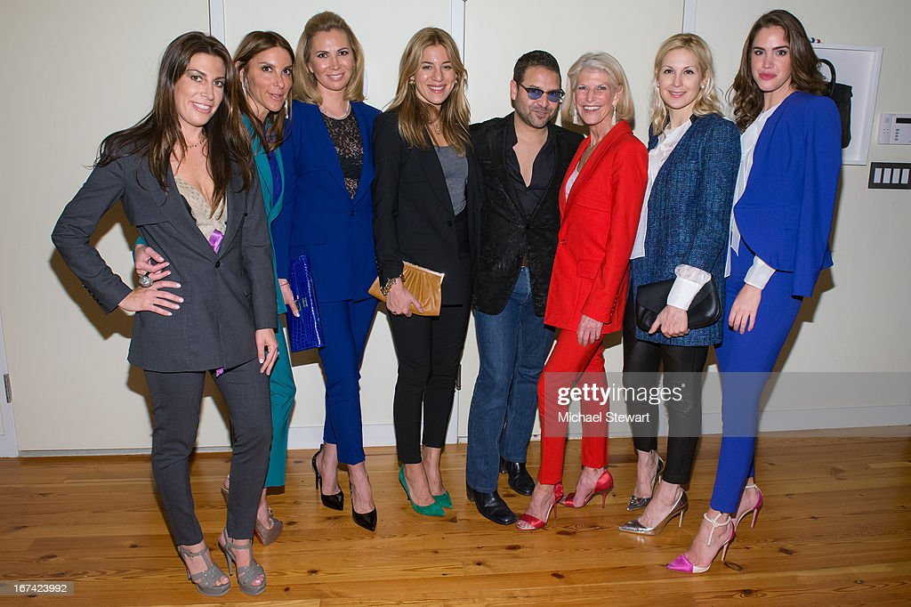 Jessica Meisels, Dori Cooperman, Inga Rubenstein, Dani Stahl, designer Alvin Valley, RoAnn Costin, Kelly Rutherford and Julia Loomis attend Alvin Valley 'Belle De Jour' Intimate Dinner Party on April 24, 2013 in New York City.