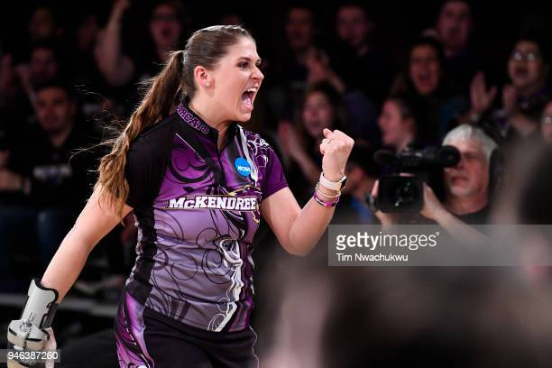 Jessica Mellott of McKendree University reacts after a strike during the Division I Women's Bowling Championship held at Tropicana Lanes on April 14...