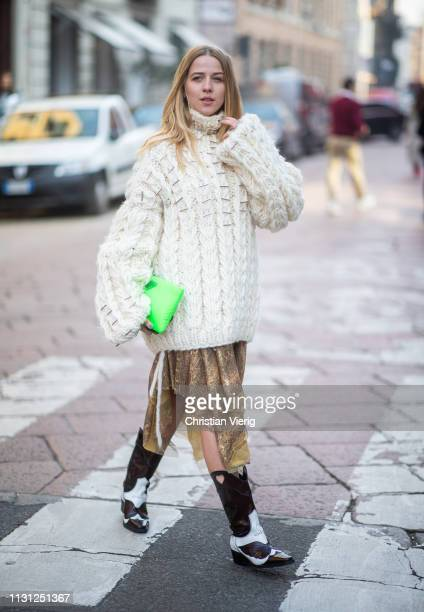Jessica Mercedes Kirschner is seen wearing knit outside Armani on Day 2 Milan Fashion Week Autumn/Winter 2019/20 on February 21 2019 in Milan Italy
