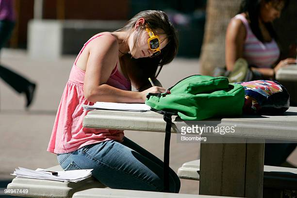 Jessica Meuir a freshman at the University of Nevada Las Vegas studies for final exams outside the Student Union in Las Vegas Nevada US on Wednesday...