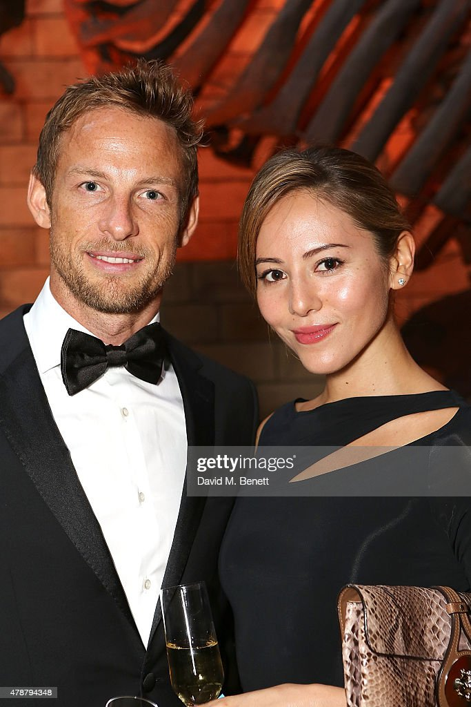 Jessica Michibata and Jenson Button at the inaugural Walkabout Foundation gala, drinks by Boujis, London at Natural History Museum on June 27, 2015 in London, England.
