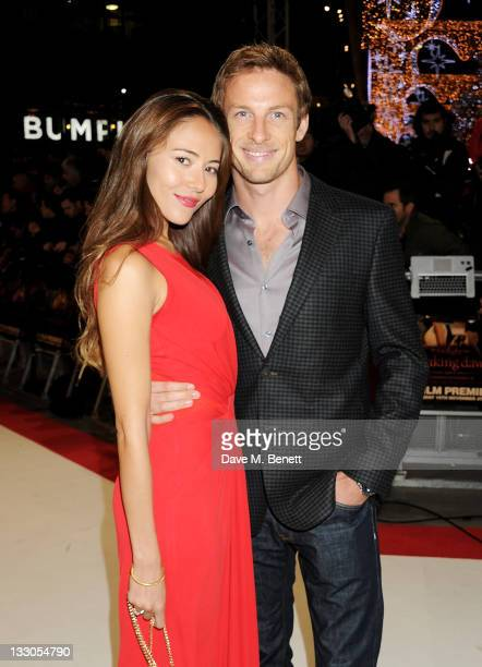Jessica Michibata and Jenson Button attend the UK Premiere of 'The Twilight Saga Breaking Dawn Part 1' at Westfield Stratford City on November 16...