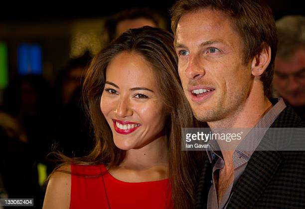 Jessica Michibata and Jenson Button attend the UK premiere of The Twilight Saga Breaking Dawn Part 1 at Westfield Stratford City on November 16 2011...