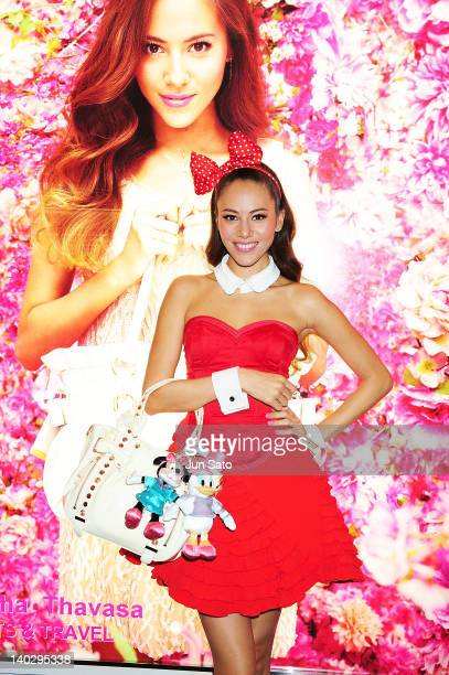 Jessica Michibata attends Samantha Thavasa promotional event at Haneda airport on March 2 2012 in Tokyo Japan