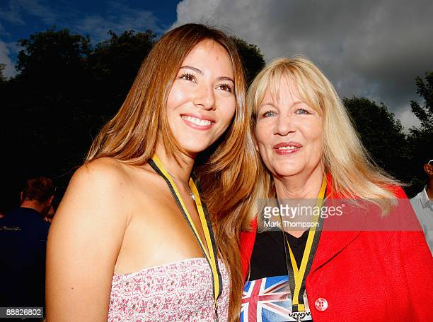 Jessica Michibata girlfriend of Jenson Button with Jenson Button's mother Simone Button during day three of The Goodwood Festival of Speed at The...